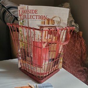 "Rustic red metal basket 10"" tall"